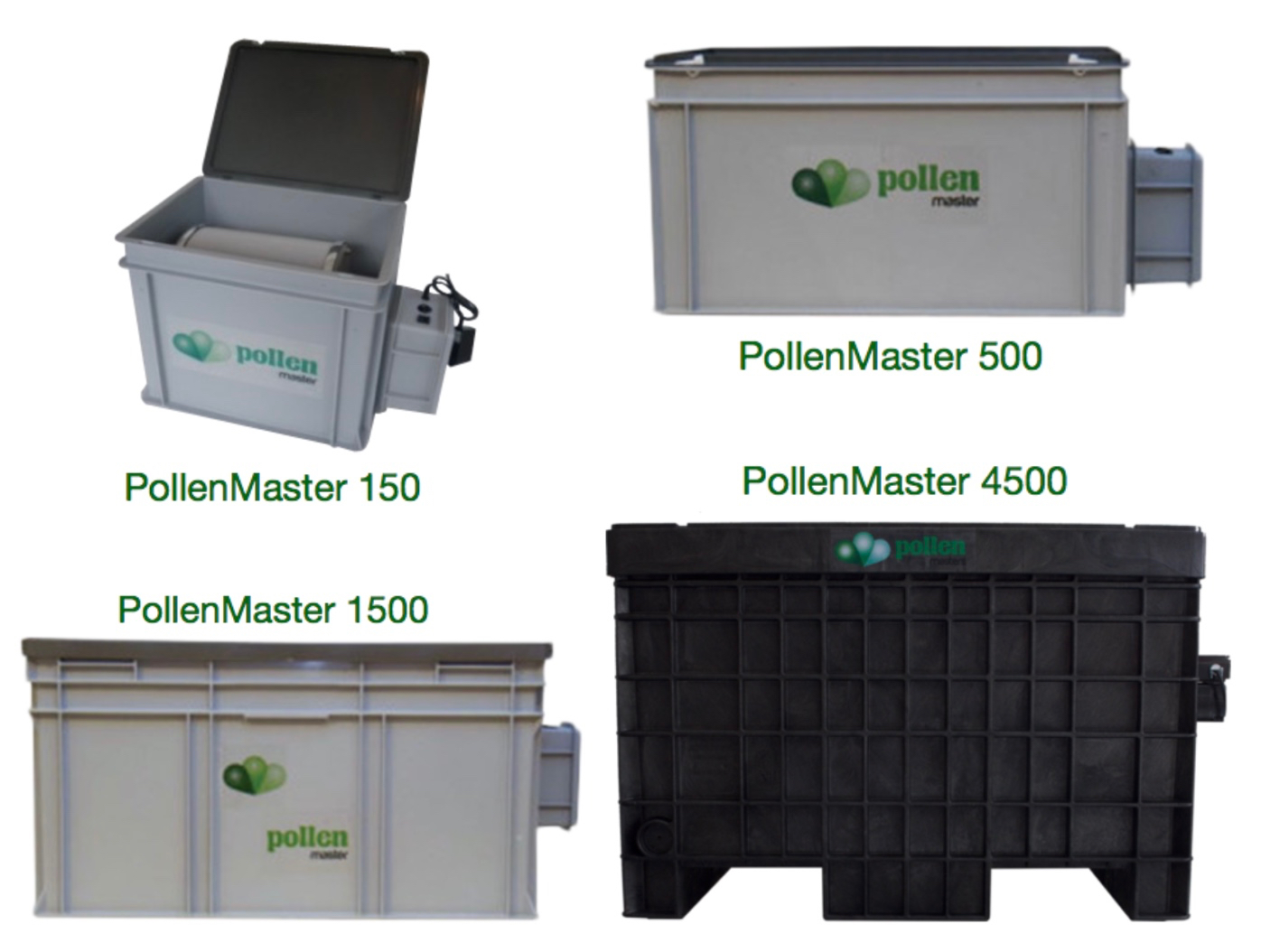 PollenMaster Dry Sift Pollenators ranked by size (150, 500, 1500 and 4500)
