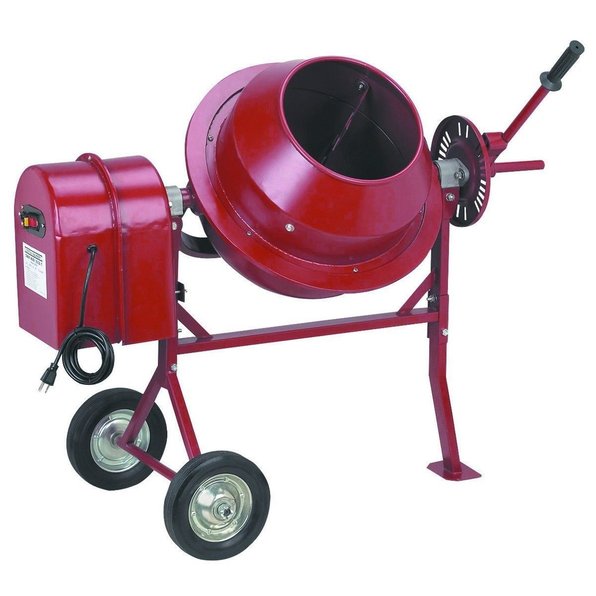 Miniature red cement mixer used with the Extraction Contraption