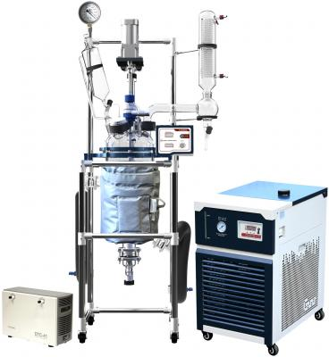 Across International R Series 10L Single Jacketed Glass Reactor w/ Chiller & Pump