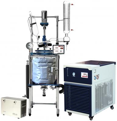 Across International R Series 20L Single Jacketed Glass Reactor w/ Chiller & Pump